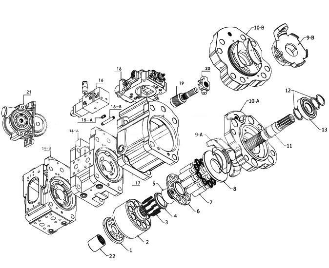 Запчасти для гидронасоса Kawasaki K3V180 K3V180DT